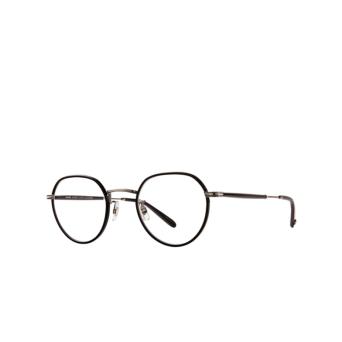 Garrett Leight® Round Eyeglasses: Robson W color Black-pewter Bk-pw-bk.