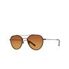 Garrett Leight® Aviator Sunglasses: San Miguel Sun color Marigold-antique Gold Mgt-atgii-cn-hwdg - product thumbnail 2/2.