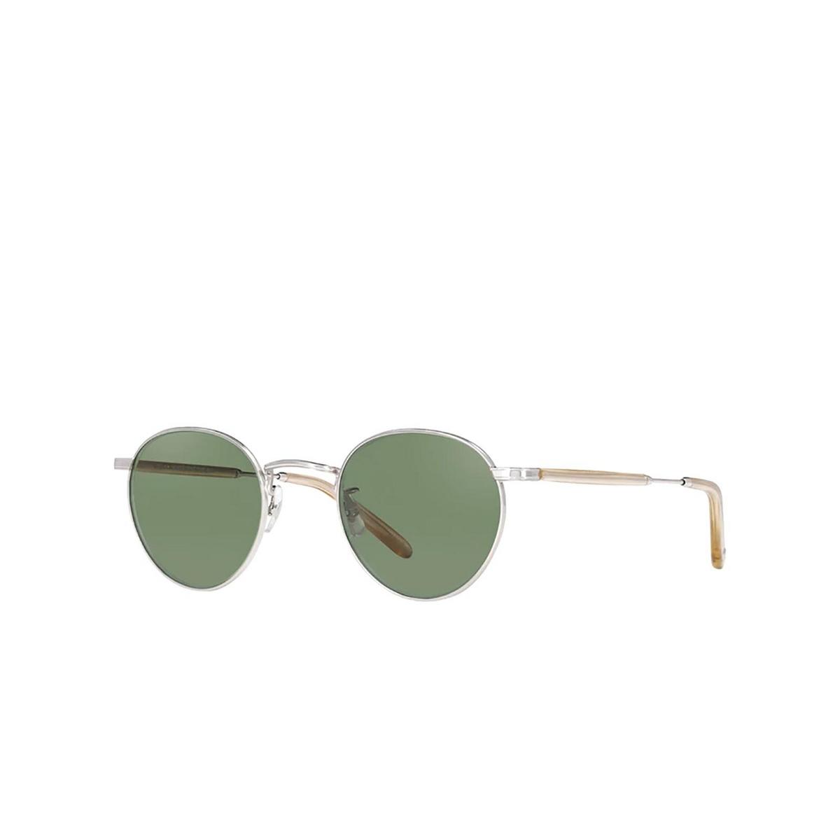 Garrett Leight® Round Sunglasses: Wilson M Sun color Silver Blonde S-b/sfgrn.