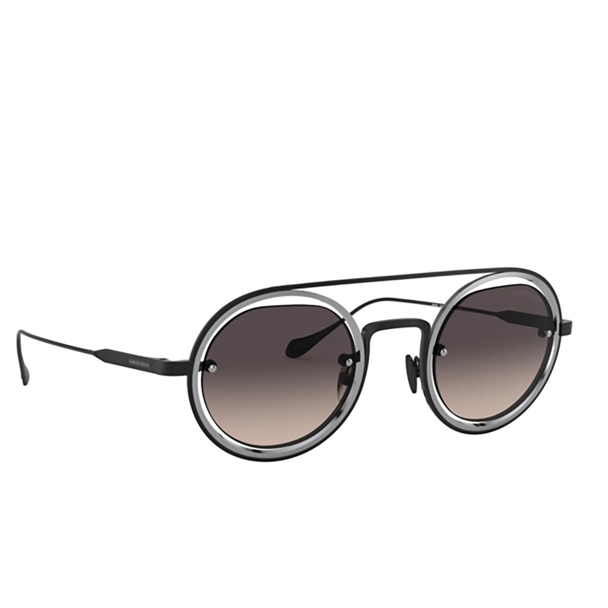Giorgio Armani® Round Sunglasses: AR6085 color Matte Black / Gunmetal 326111 - three-quarters view.