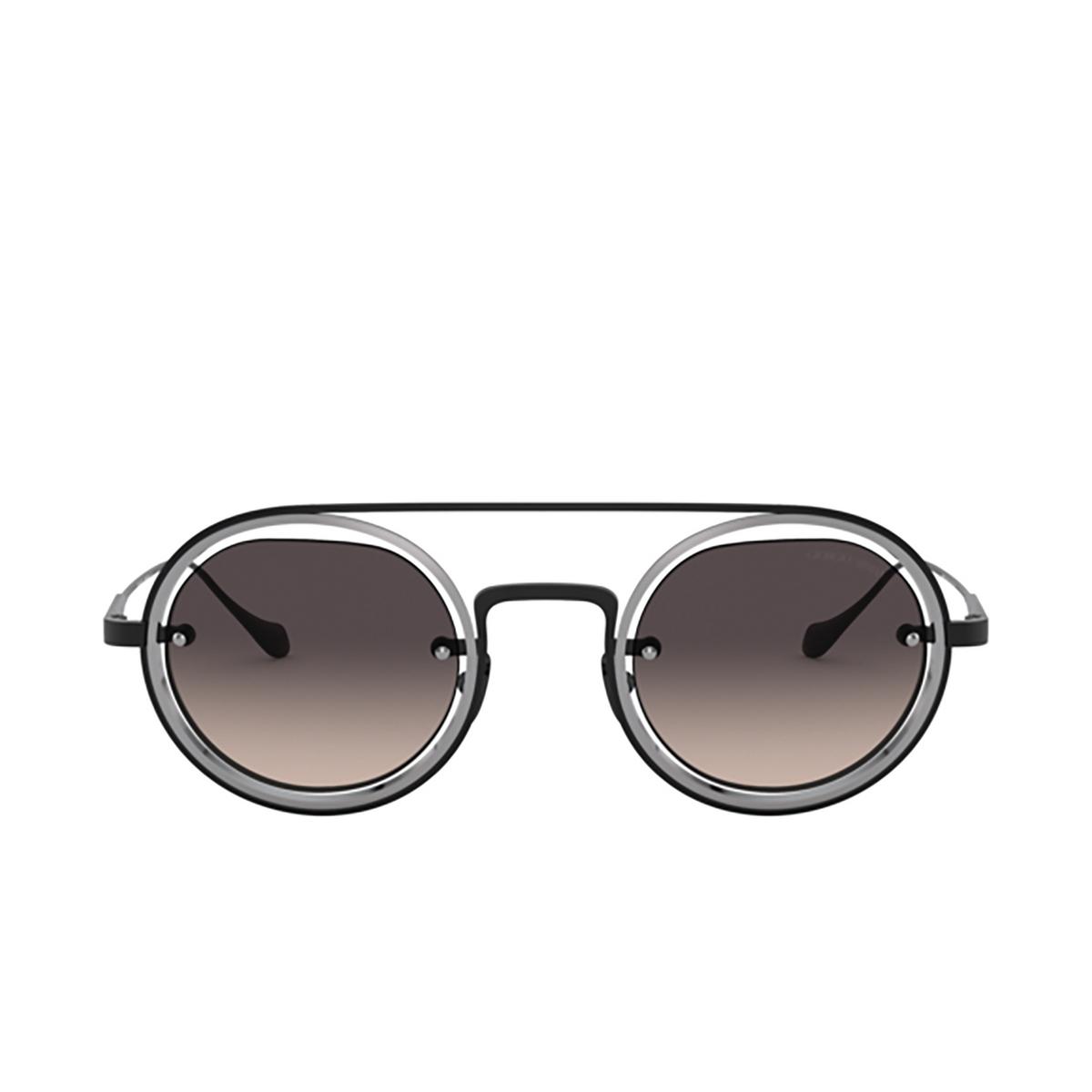 Giorgio Armani® Round Sunglasses: AR6085 color Matte Black / Gunmetal 326111 - front view.