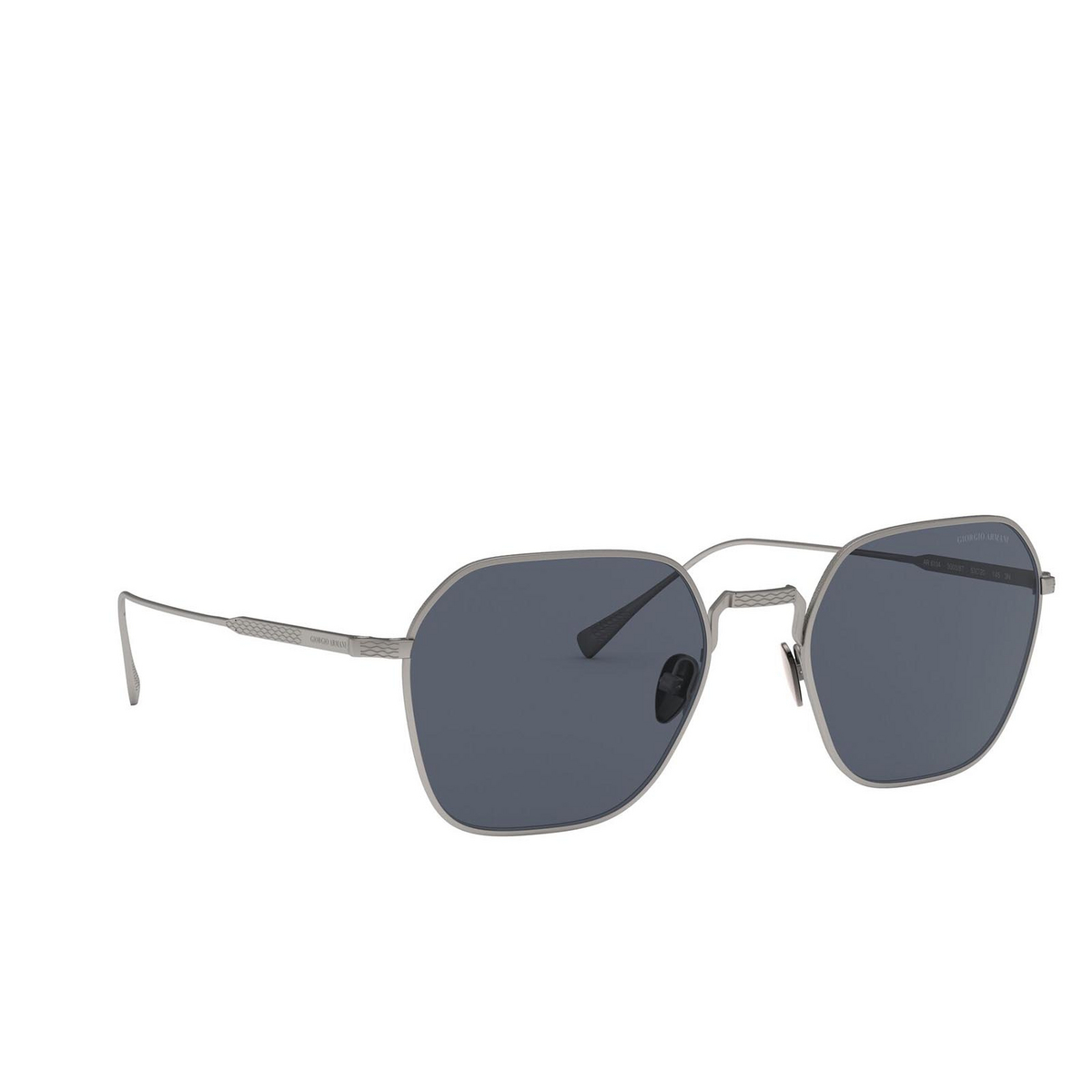 Giorgio Armani® Square Sunglasses: AR6104 color Matte Gunmetal 300387 - three-quarters view.