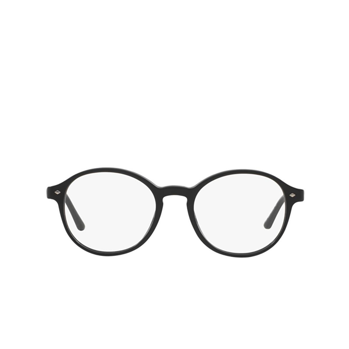 Giorgio Armani® Round Eyeglasses: AR7004 color Top Matte Black / Shiny 5001 - front view.