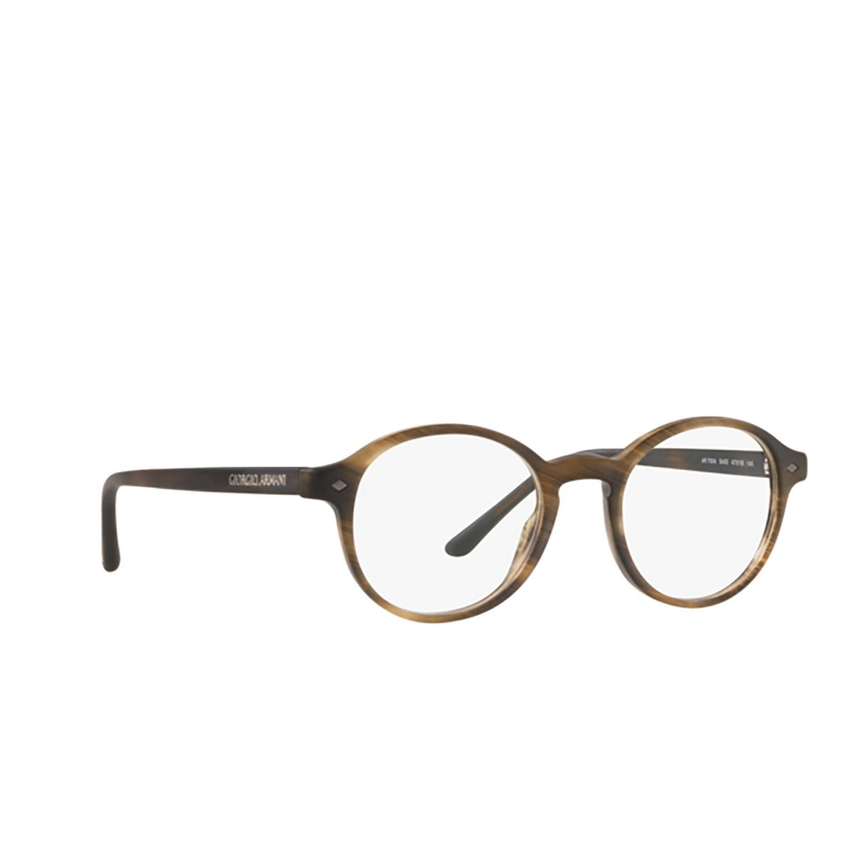 Giorgio Armani® Round Eyeglasses: AR7004 color Matte Striped Brown 5405 - three-quarters view.