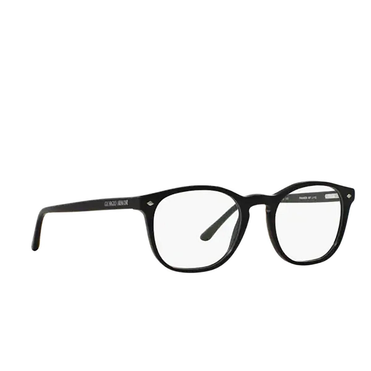 Giorgio Armani® Round Eyeglasses: AR7074 color Matte Black 5042 - three-quarters view.