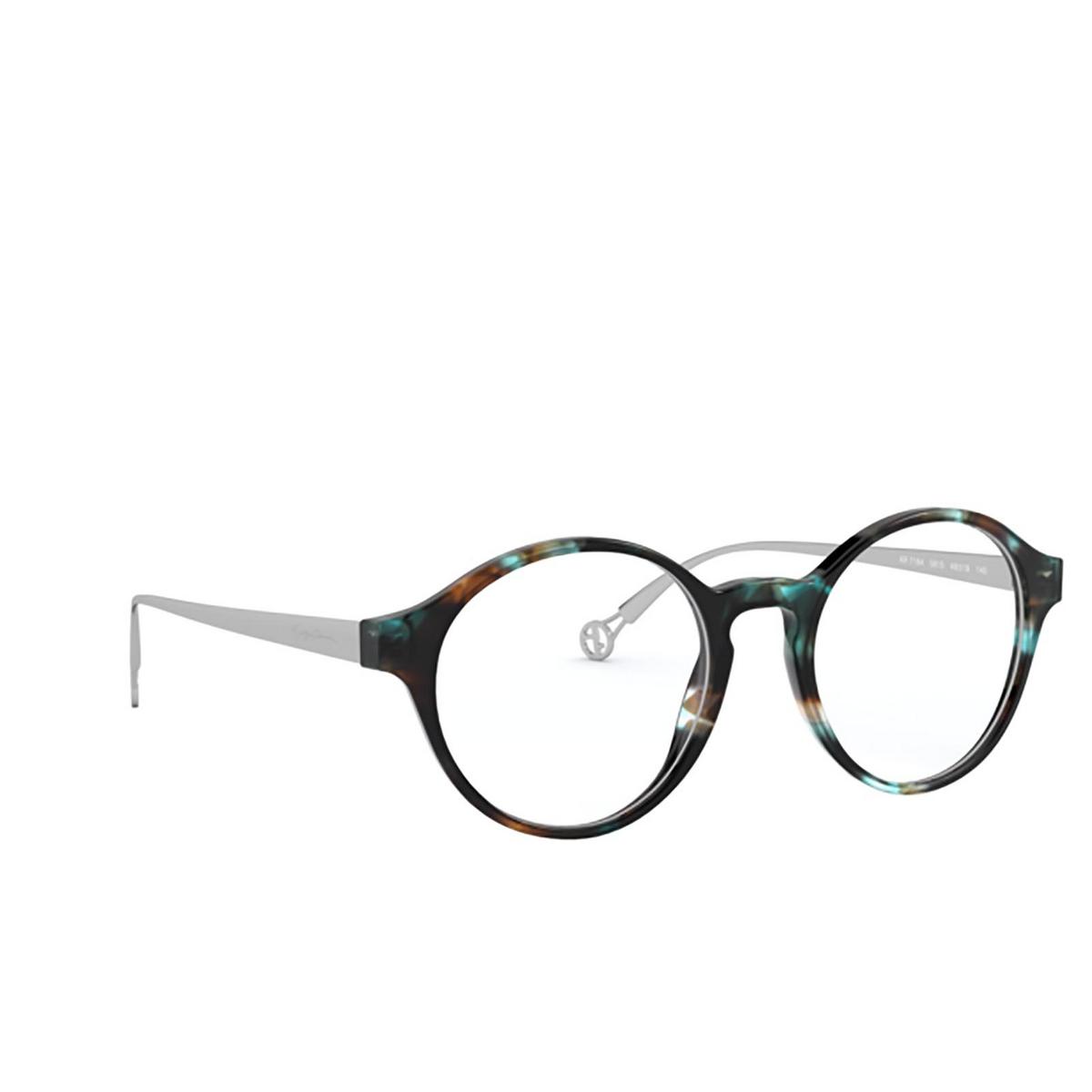 Giorgio Armani® Round Eyeglasses: AR7184 color Blue 5815 - three-quarters view.
