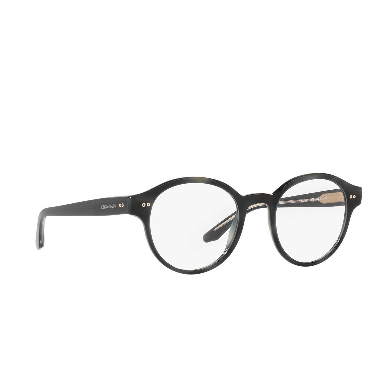 Giorgio Armani® Round Eyeglasses: AR7196 color Black 5001 - three-quarters view.