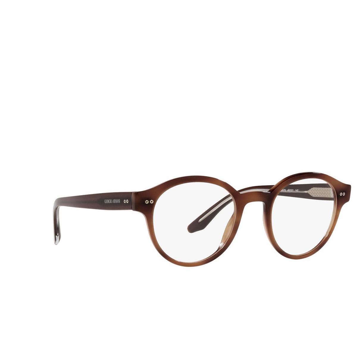 Giorgio Armani® Round Eyeglasses: AR7196 color Striped Brown 5573 - three-quarters view.