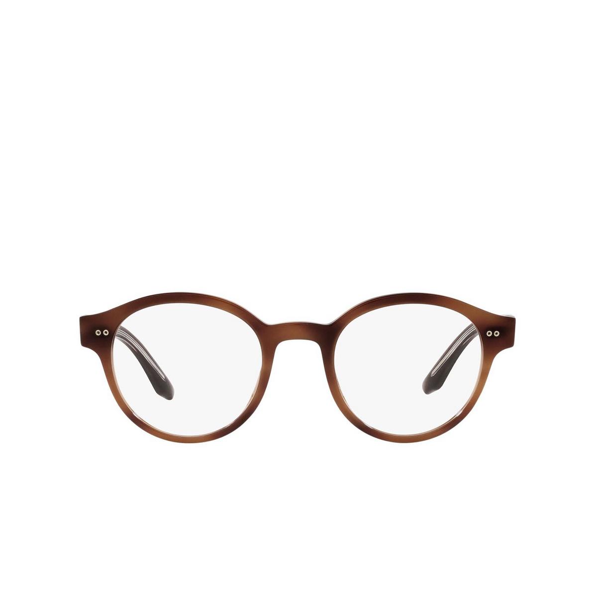 Giorgio Armani® Round Eyeglasses: AR7196 color Striped Brown 5573 - front view.
