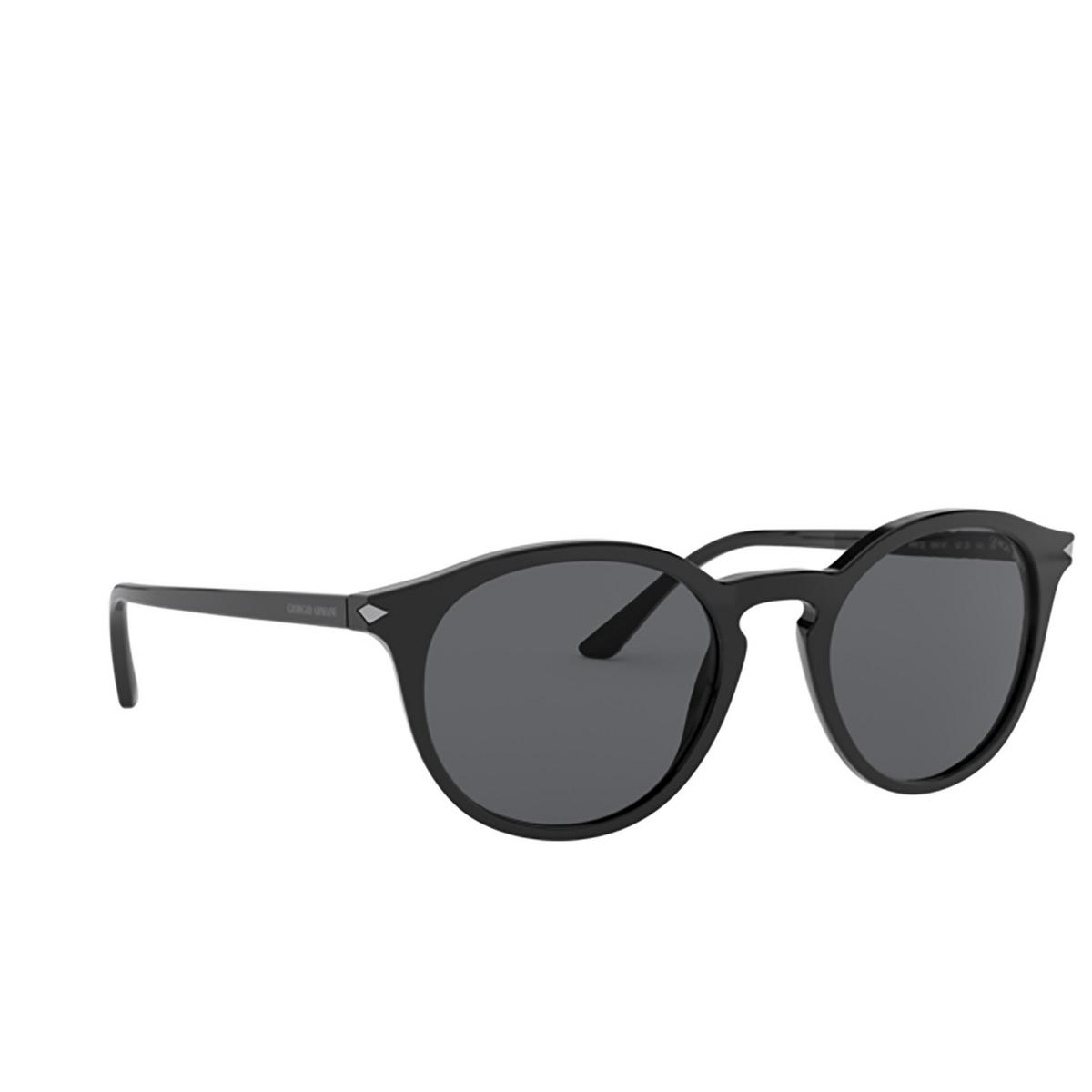 Giorgio Armani® Round Sunglasses: AR8122 color Black 500187 - three-quarters view.