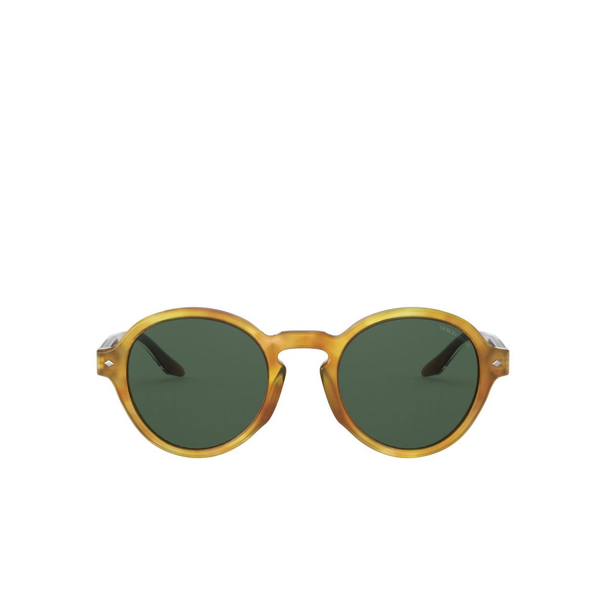 Giorgio Armani® Round Sunglasses: AR8130 color Yellow Havana 576171 - front view.