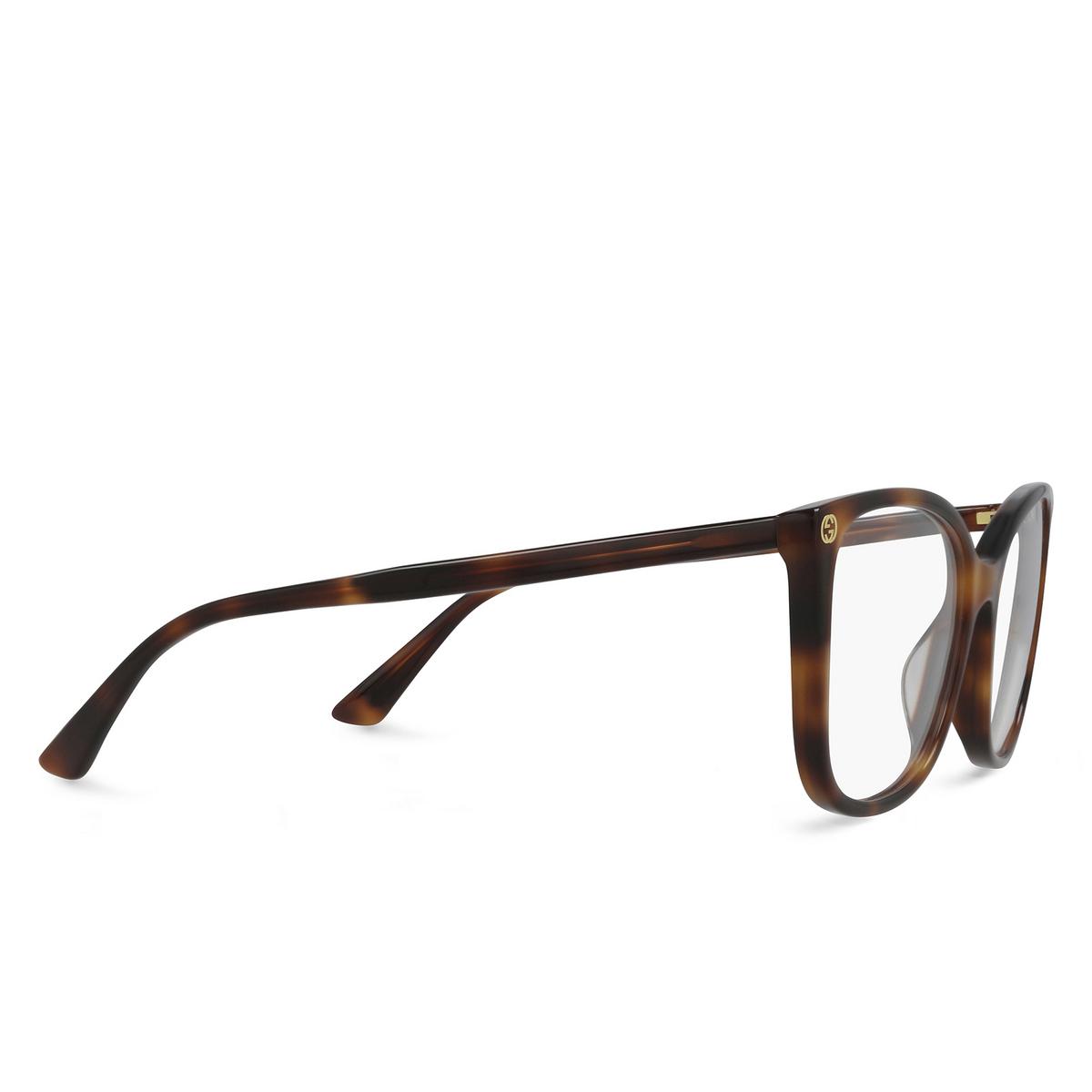 Gucci® Square Eyeglasses: GG0026O color Havana 002 - three-quarters view.