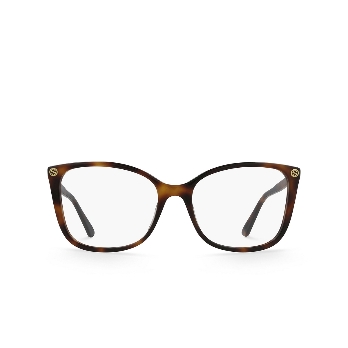 Gucci® Square Eyeglasses: GG0026O color Havana 002 - front view.