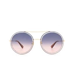 Gucci® Round Sunglasses: GG0061S color Gold 023.