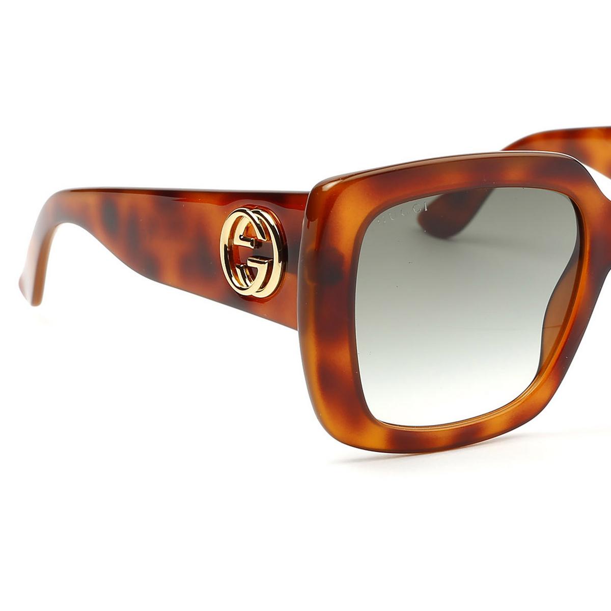 Gucci® Square Sunglasses: GG0141S color Havana 002 - 3/4.
