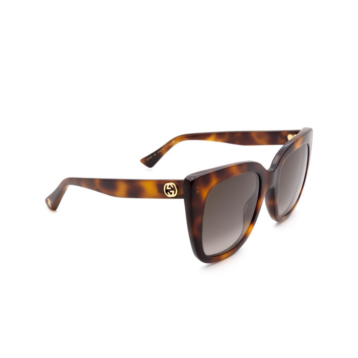 Gucci® Cat-eye Sunglasses: GG0163S color Havana 002.