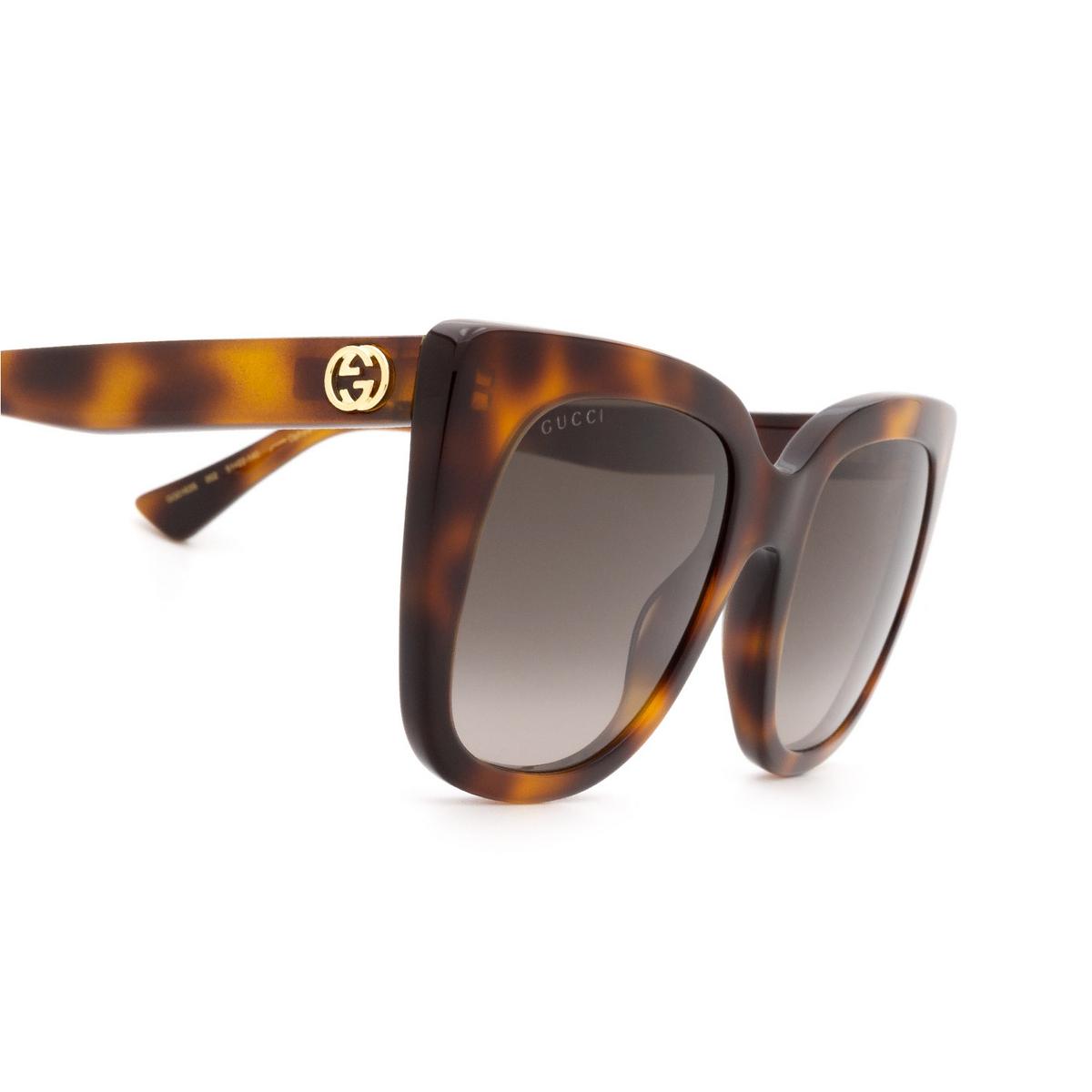 Gucci® Cat-eye Sunglasses: GG0163S color Havana 002 - 3/3.