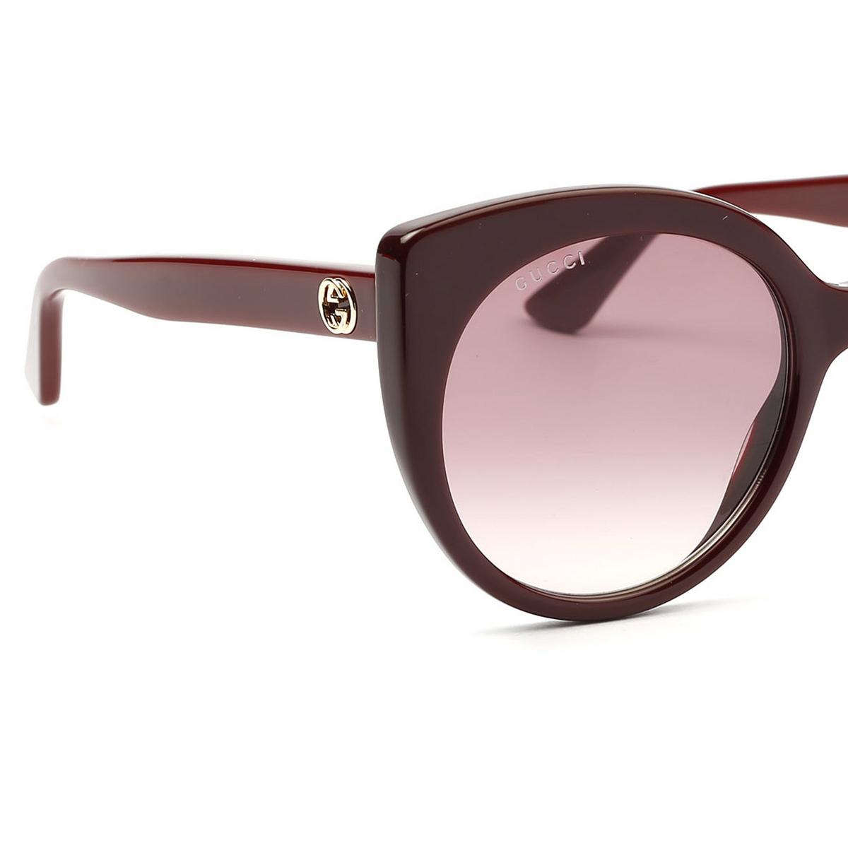 Gucci® Cat-eye Sunglasses: GG0325S color Burgundy 007 - 3/4.