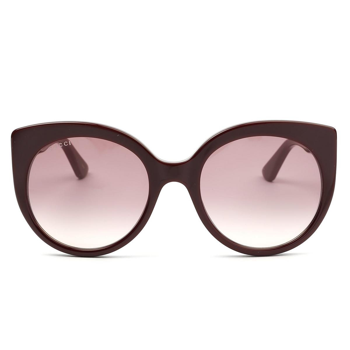 Gucci® Cat-eye Sunglasses: GG0325S color Burgundy 007 - 1/4.