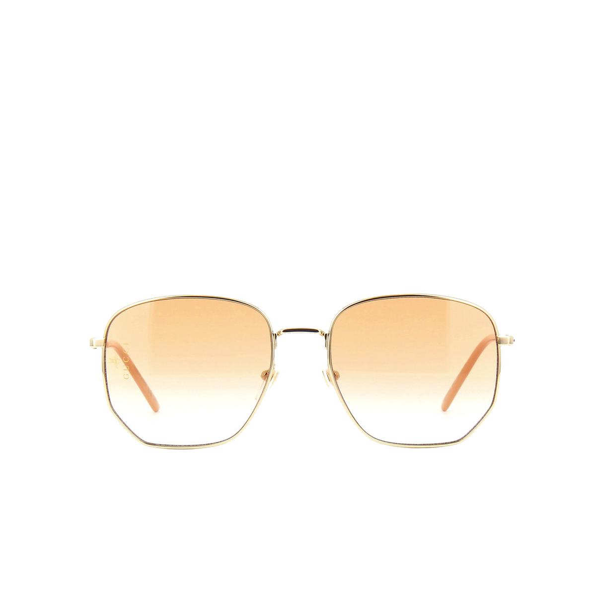 Gucci® Square Sunglasses: GG0396S color Gold 003.
