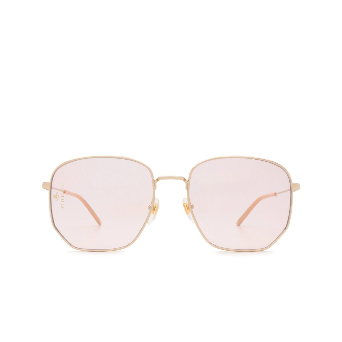 Gucci® Square Sunglasses: GG0396S color Gold 004.