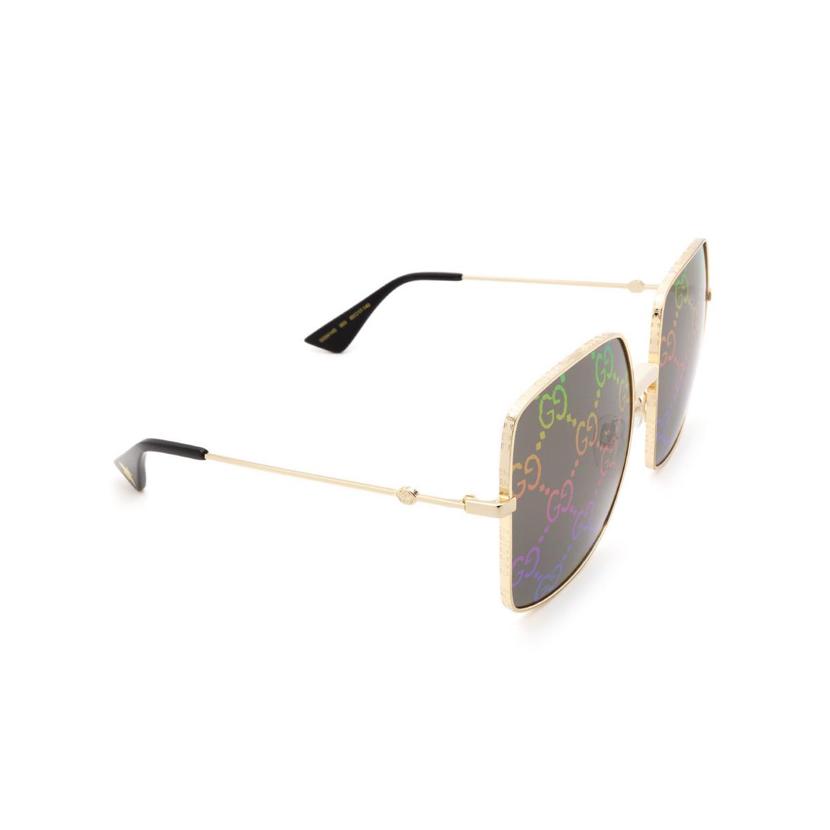 Gucci® Square Sunglasses: GG0414S color Gold 003 - 2/3.