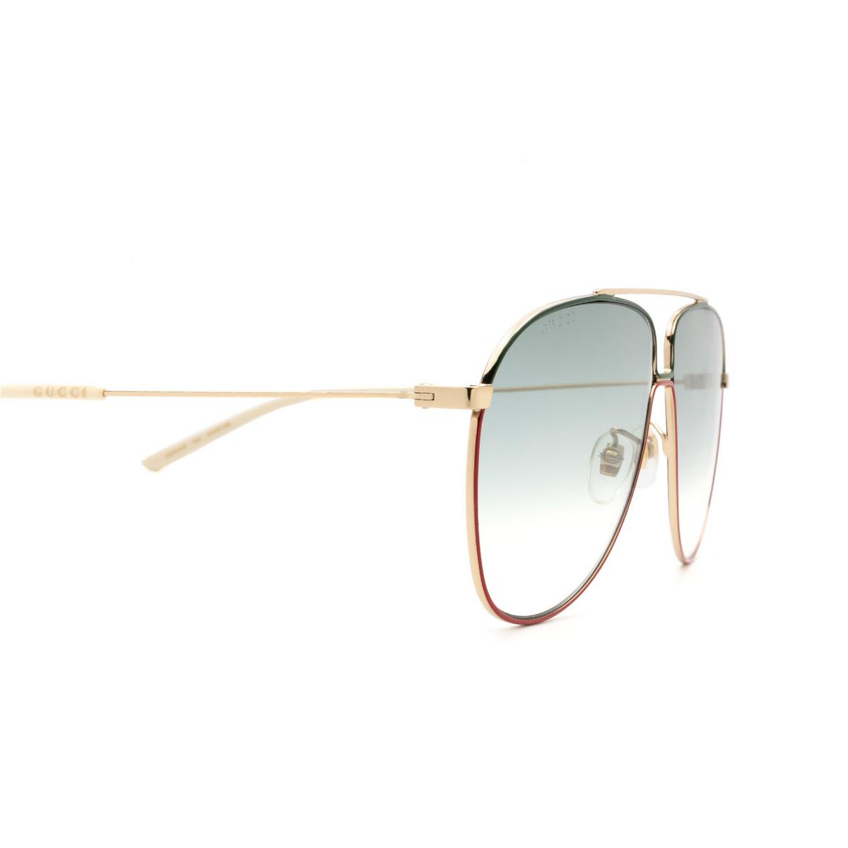 Gucci® Aviator Sunglasses: GG0440S color Gold 004 - 3/3.