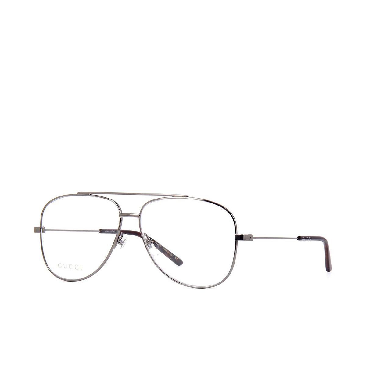 Gucci® Aviator Eyeglasses: GG0442O color Ruthenium 001 - three-quarters view.