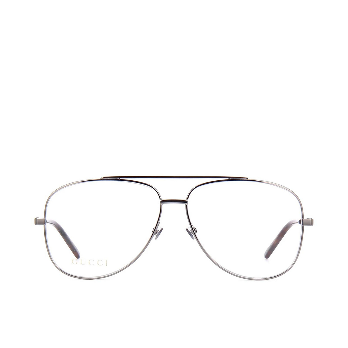 Gucci® Aviator Eyeglasses: GG0442O color Ruthenium 001 - front view.