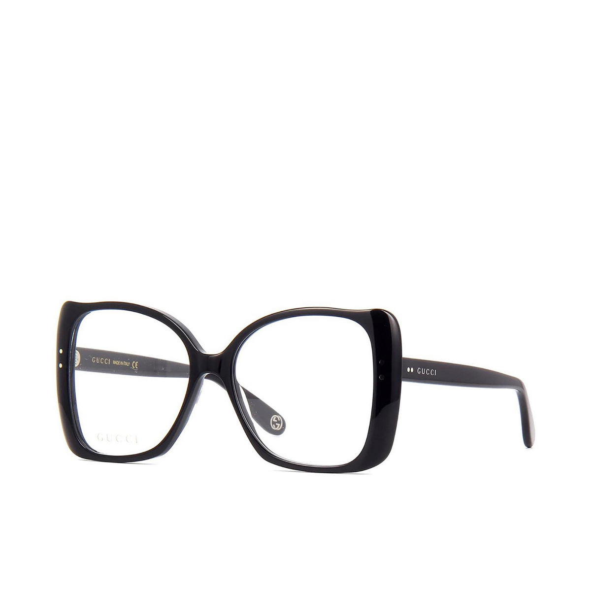Gucci® Butterfly Eyeglasses: GG0473O color Black 001 - three-quarters view.