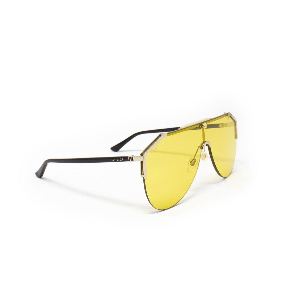 Gucci® Mask Sunglasses: GG0584S color Gold 004 - 2/3.