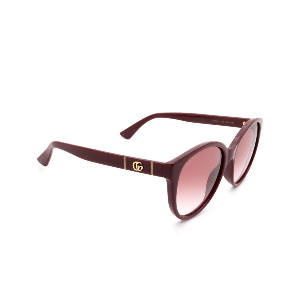 Gucci® Round Sunglasses: GG0631S color Burgundy 003 - 2/3.