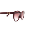 Gucci® Round Sunglasses: GG0631S color Burgundy 003 - product thumbnail 3/3.