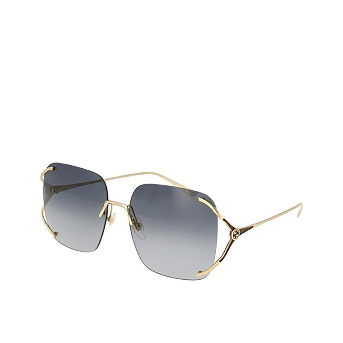 Gucci® Rectangle Sunglasses: GG0646S color Gold 001.