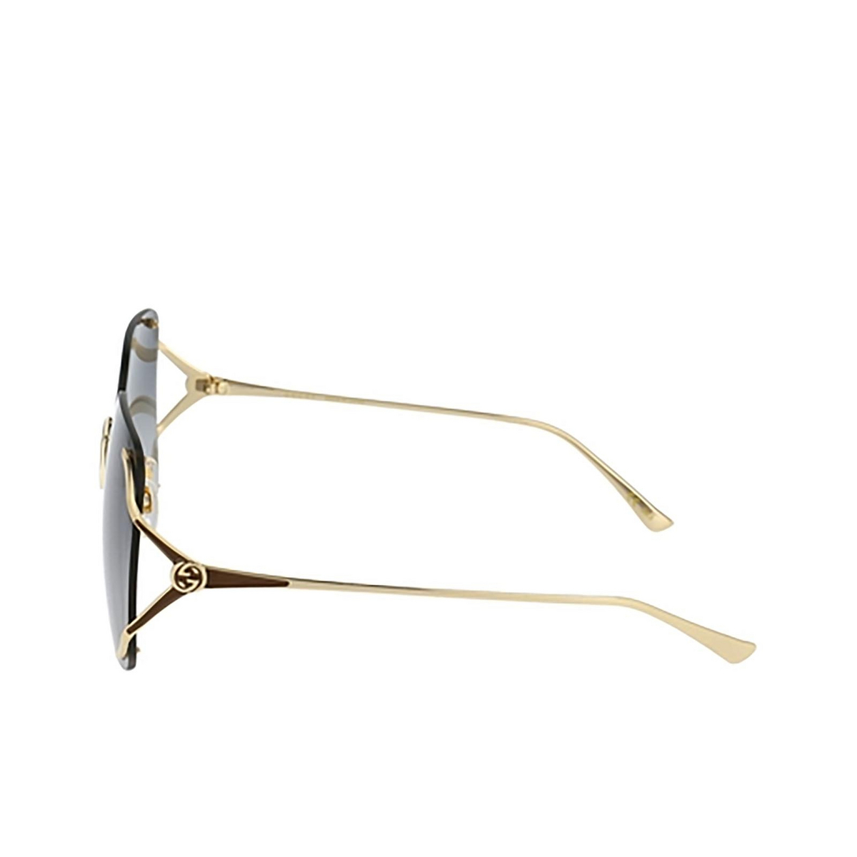 Gucci® Rectangle Sunglasses: GG0646S color Gold 001 - 3/3.