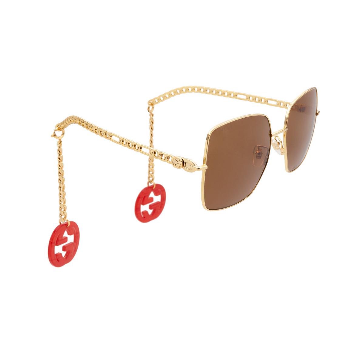 Gucci® Square Sunglasses: GG0724S color Gold 002.
