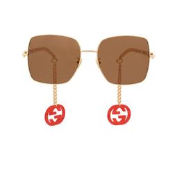 Gucci® Sunglasses: GG0724S color Gold 002.