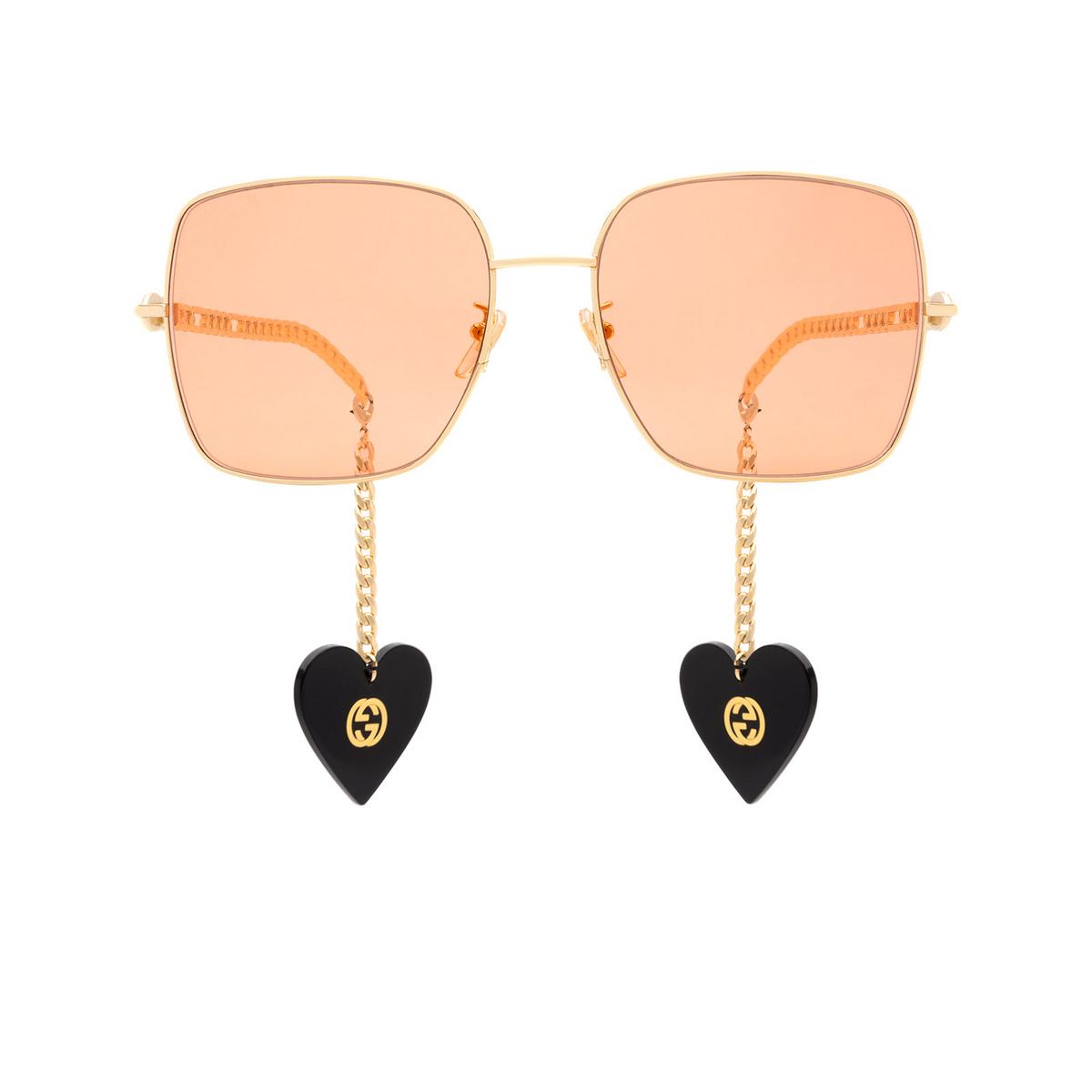 Gucci® Square Sunglasses: GG0724S color Gold 005.