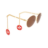 Gucci® Aviator Sunglasses: GG0725S color Gold 002 - product thumbnail 2/4.