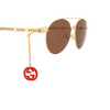 Gucci® Aviator Sunglasses: GG0725S color Gold 002 - product thumbnail 3/4.