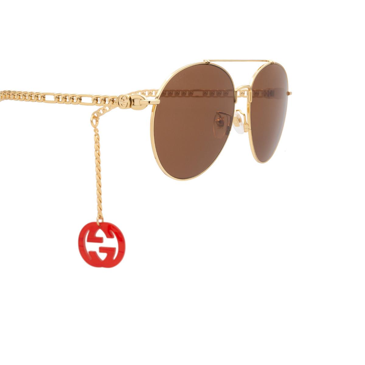 Gucci® Aviator Sunglasses: GG0725S color Gold 002 - 3/4.