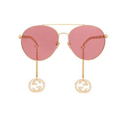 Gucci® Aviator Sunglasses: GG0725S color Gold 003.