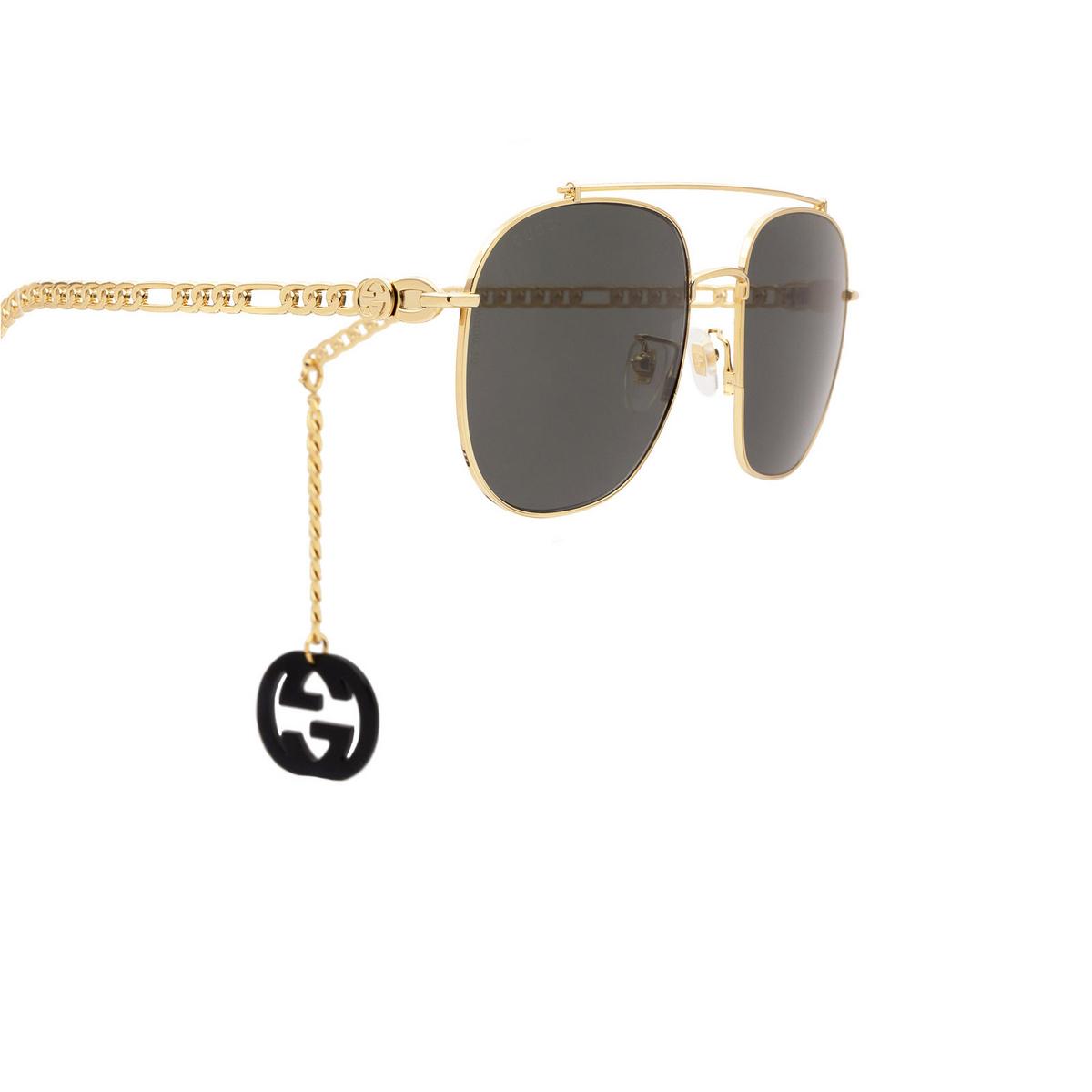 Gucci® Aviator Sunglasses: GG0727S color Gold 001 - 3/4.