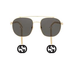 Gucci® Aviator Sunglasses: GG0727S color Gold 001.