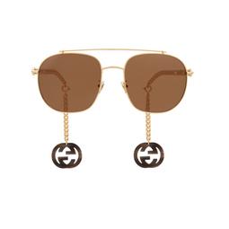 Gucci® Aviator Sunglasses: GG0727S color Gold 002.