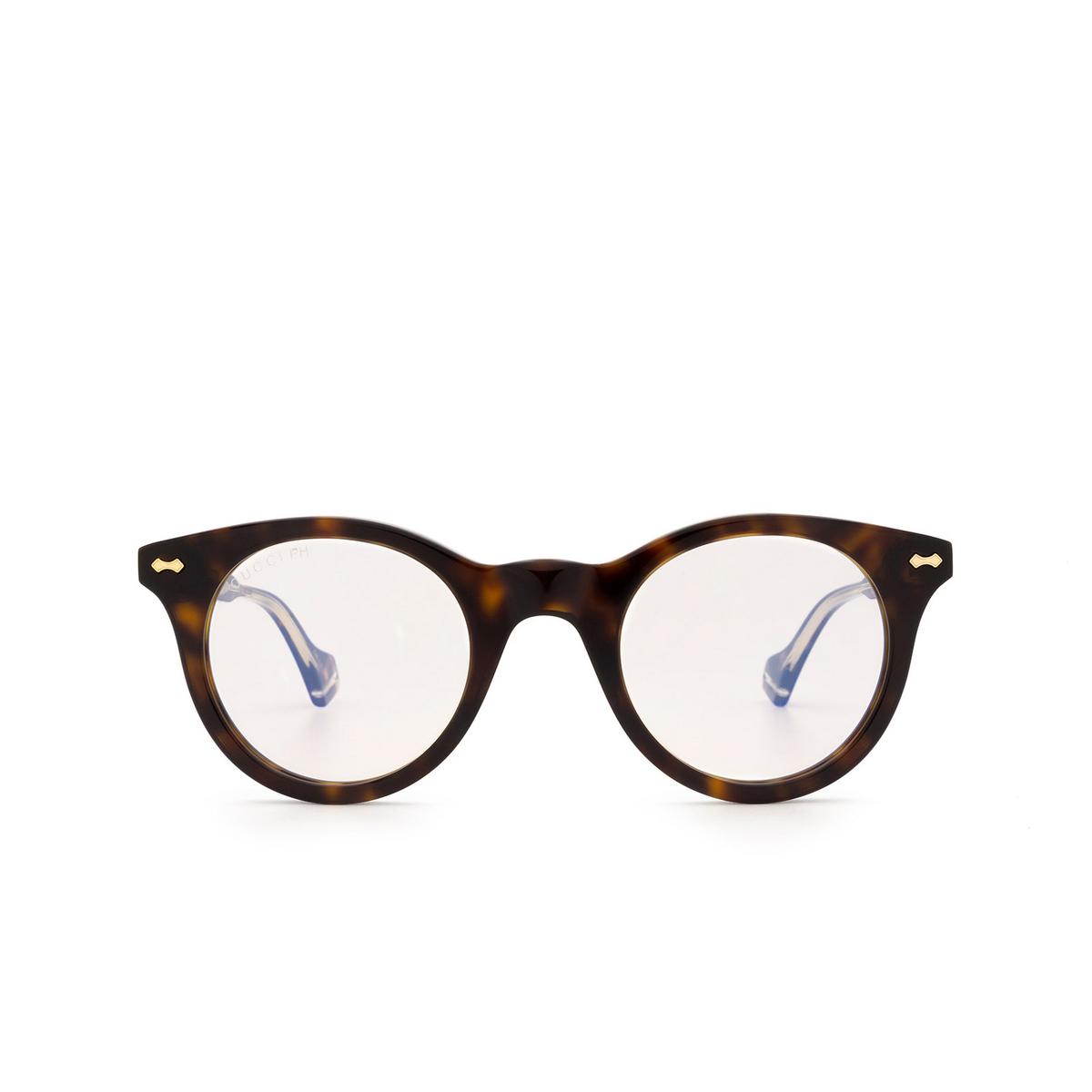 Gucci® Round Sunglasses: GG0736S color Havana 005.