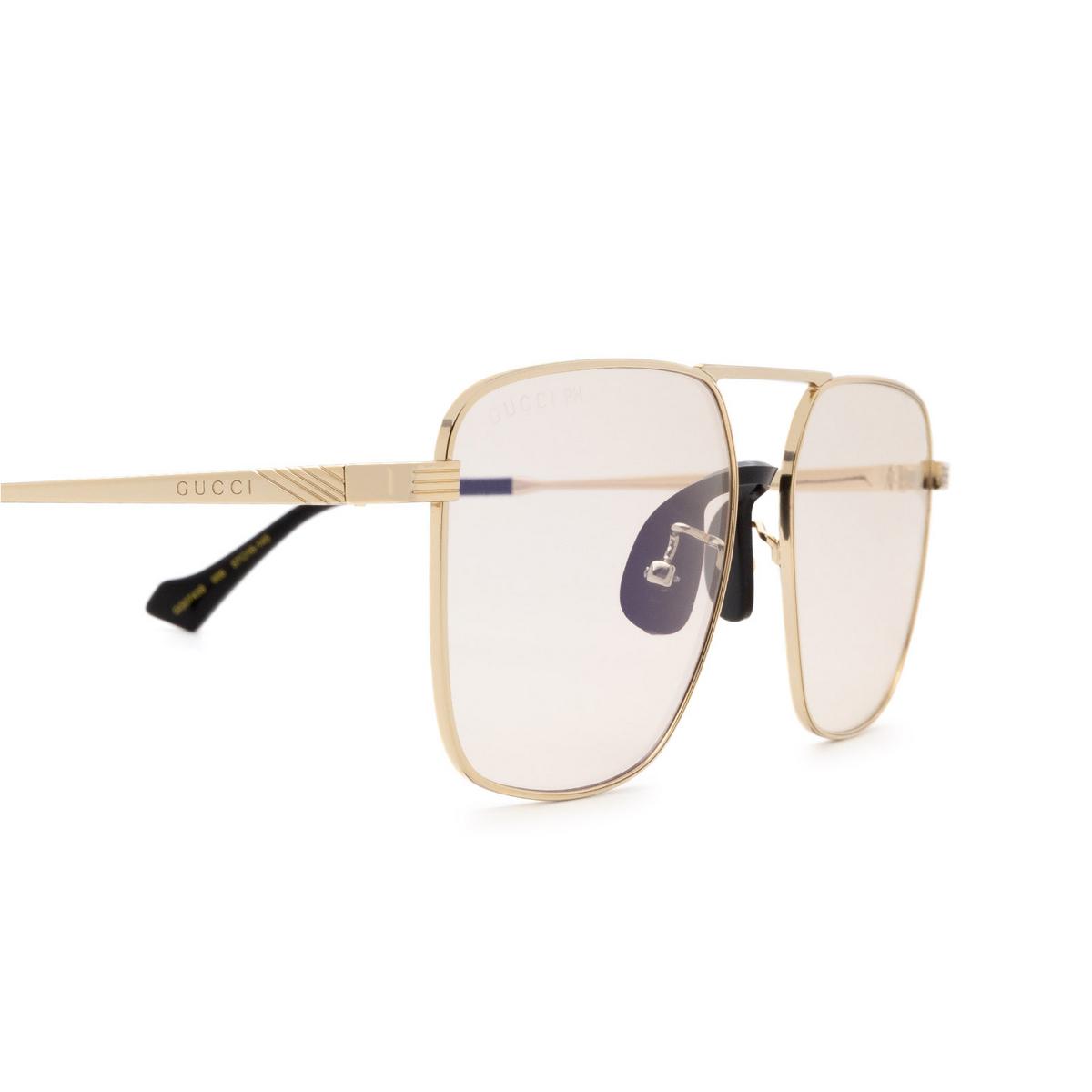 Gucci® Square Sunglasses: GG0743S color Gold 006 - 3/3.