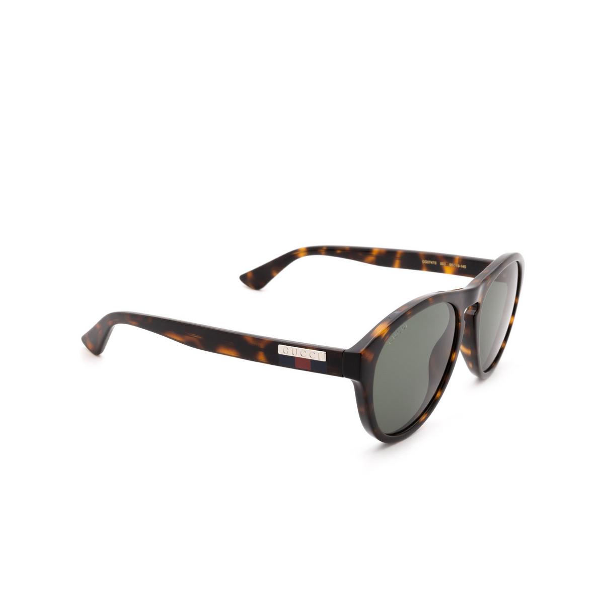 Gucci® Aviator Sunglasses: GG0747S color Havana 003 - 2/3.