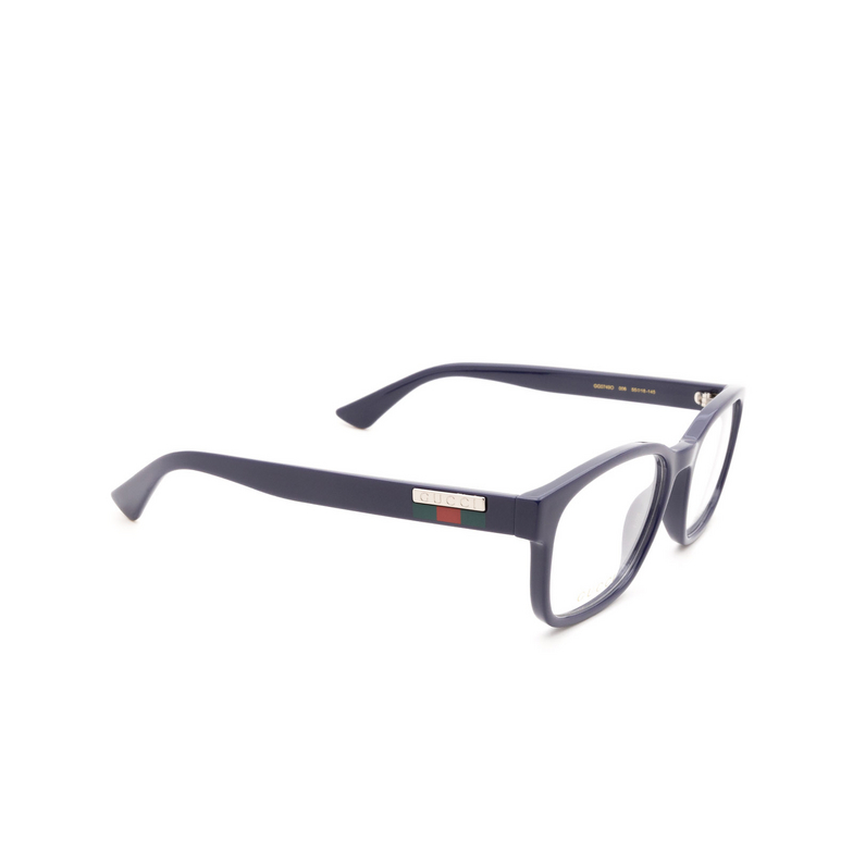 Gucci® Rectangle Eyeglasses: GG0749O color Blue 006.