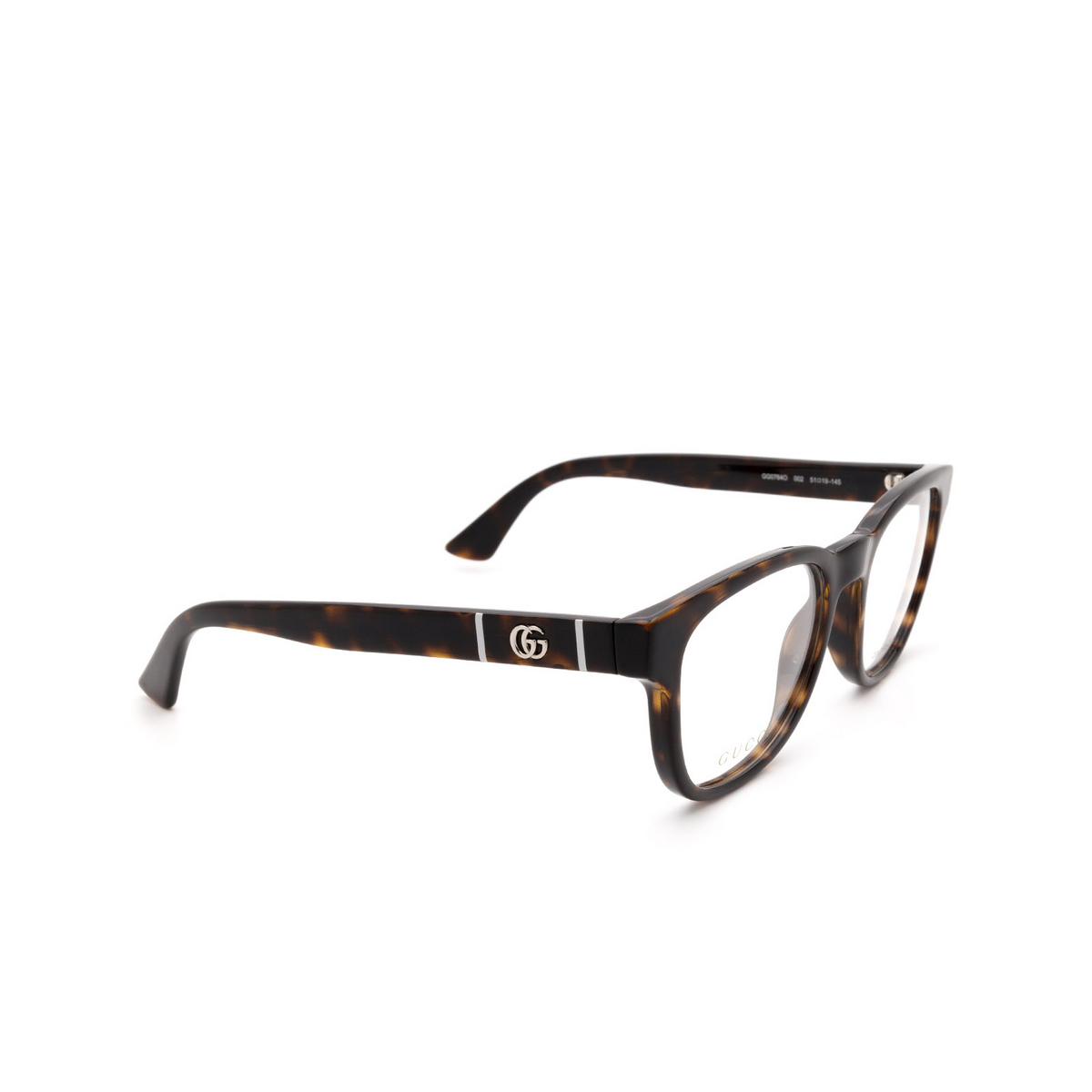 Gucci® Square Eyeglasses: GG0764O color Havana 002.